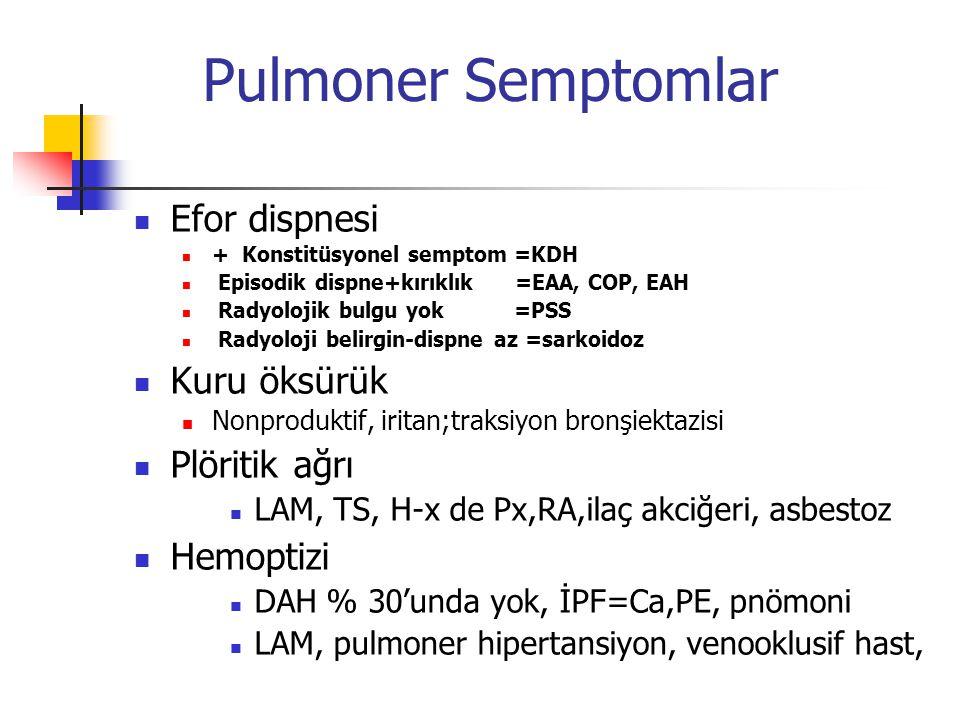 Pulmoner Semptomlar Efor dispnesi Kuru öksürük Plöritik ağrı Hemoptizi