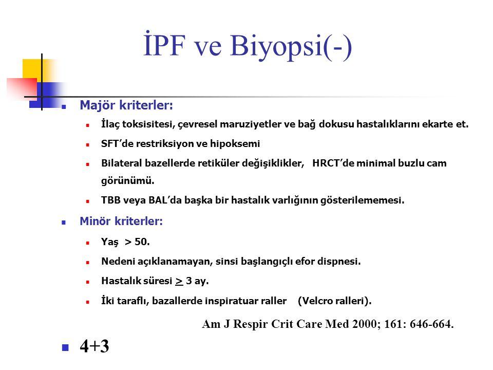 İPF ve Biyopsi(-) 4+3 Majör kriterler: Minör kriterler: