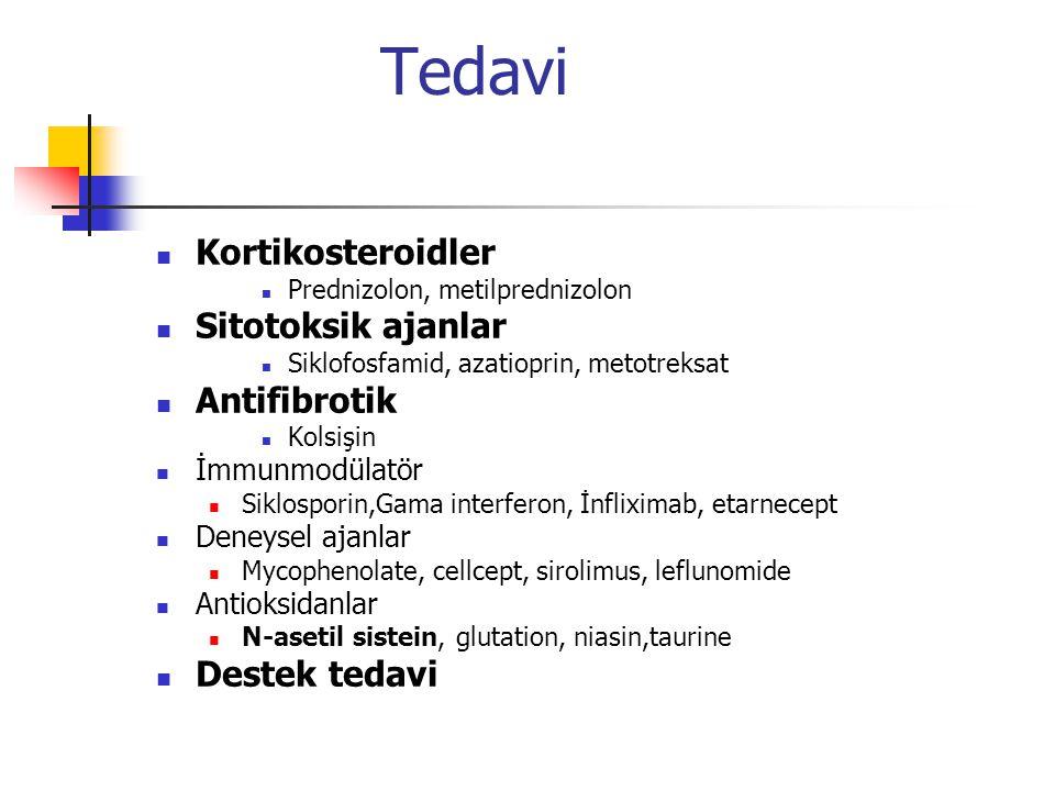 Tedavi Kortikosteroidler Sitotoksik ajanlar Antifibrotik Destek tedavi