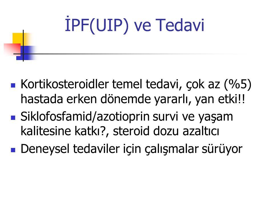 İPF(UIP) ve Tedavi Kortikosteroidler temel tedavi, çok az (%5) hastada erken dönemde yararlı, yan etki!!