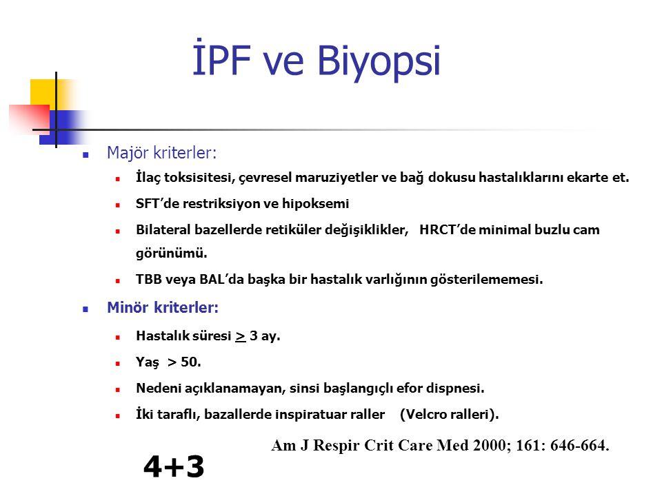 İPF ve Biyopsi 4+3 Majör kriterler: Minör kriterler:
