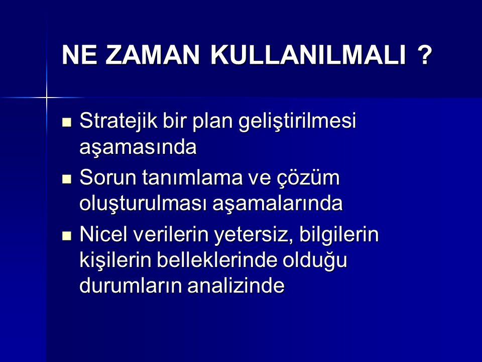 NE ZAMAN KULLANILMALI Stratejik bir plan geliştirilmesi aşamasında