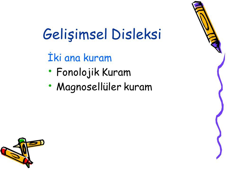 Gelişimsel Disleksi İki ana kuram Fonolojik Kuram Magnosellüler kuram