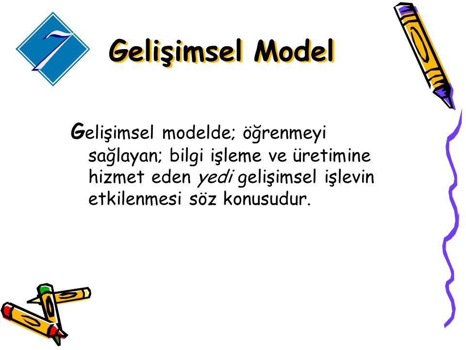Gelişimsel Model Gelişimsel modelde; öğrenmeyi sağlayan; bilgi işleme ve üretimine hizmet eden yedi gelişimsel işlevin etkilenmesi söz konusudur.