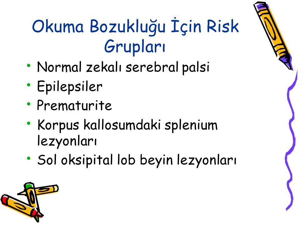 Okuma Bozukluğu İçin Risk Grupları