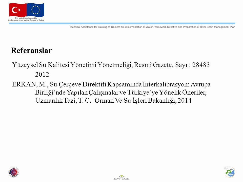 Referanslar Yüzeysel Su Kalitesi Yönetimi Yönetmeliği, Resmî Gazete, Sayı : 28483. 2012.
