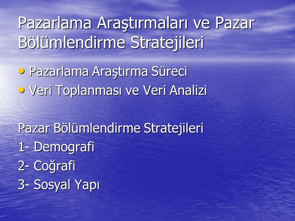 Pazarlama Araştırmaları ve Pazar Bölümlendirme Stratejileri