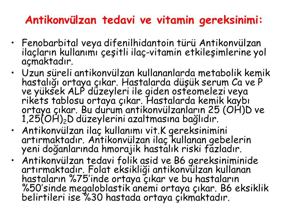 Antikonvülzan tedavi ve vitamin gereksinimi: