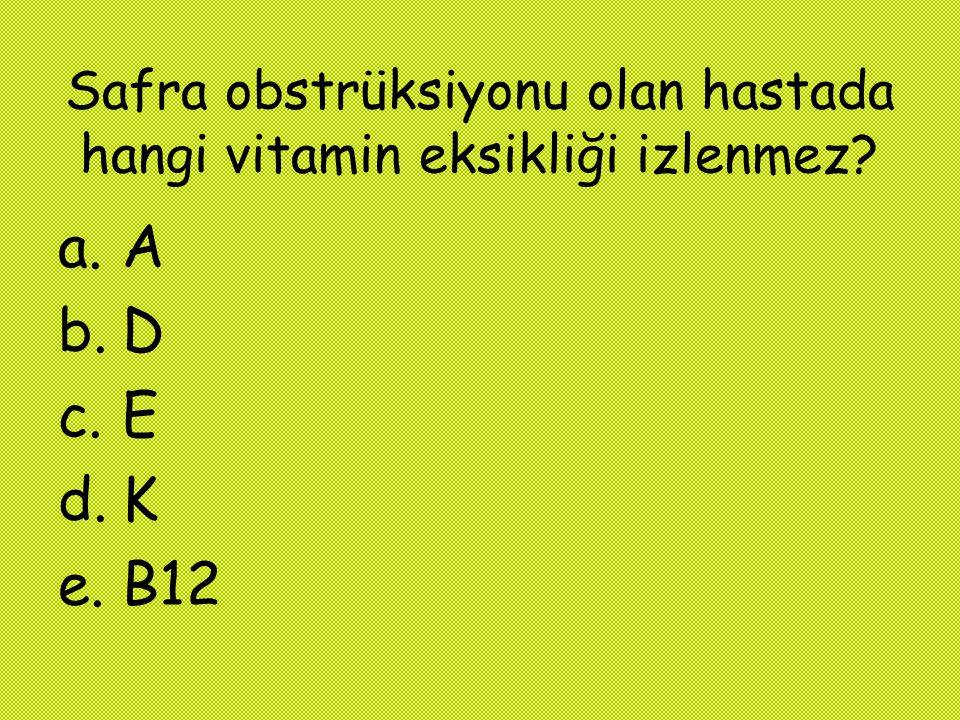Safra obstrüksiyonu olan hastada hangi vitamin eksikliği izlenmez