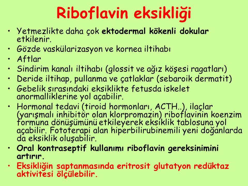 Riboflavin eksikliği Yetmezlikte daha çok ektodermal kökenli dokular etkilenir. Gözde vaskülarizasyon ve kornea iltihabı.