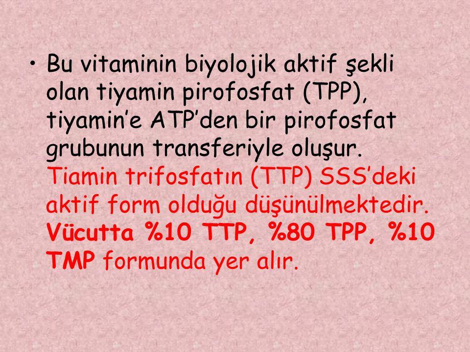 Bu vitaminin biyolojik aktif şekli olan tiyamin pirofosfat (TPP), tiyamin'e ATP'den bir pirofosfat grubunun transferiyle oluşur.