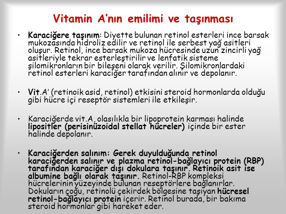 Vitamin A'nın emilimi ve taşınması