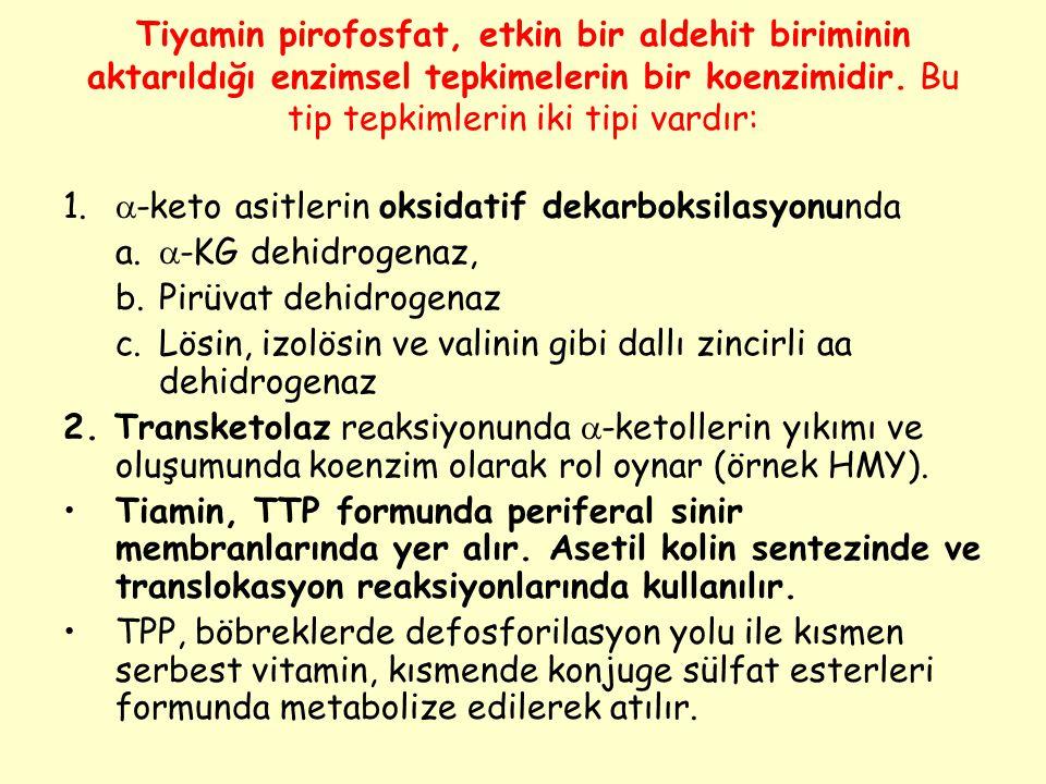 Tiyamin pirofosfat, etkin bir aldehit biriminin aktarıldığı enzimsel tepkimelerin bir koenzimidir. Bu tip tepkimlerin iki tipi vardır: