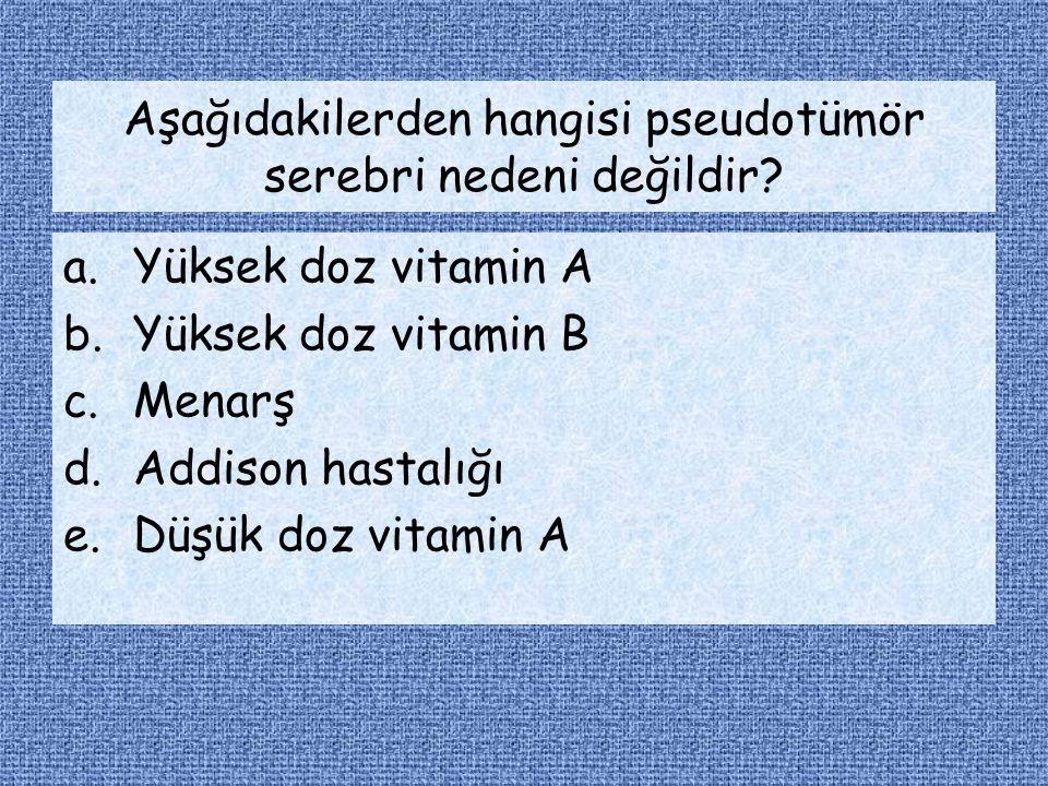 Aşağıdakilerden hangisi pseudotümör serebri nedeni değildir