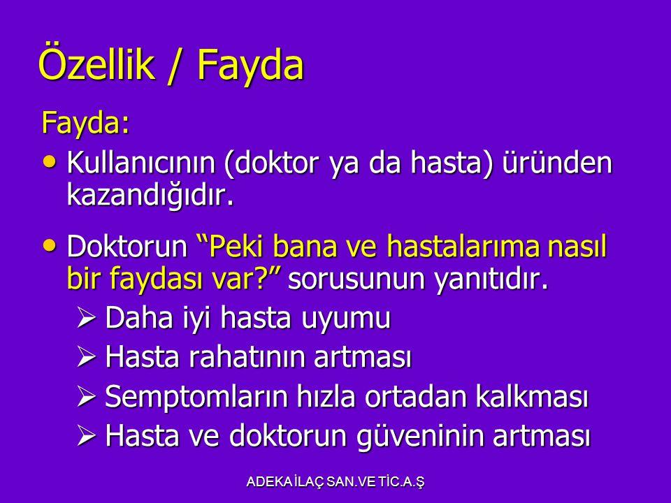 Özellik / Fayda Fayda: Kullanıcının (doktor ya da hasta) üründen kazandığıdır.