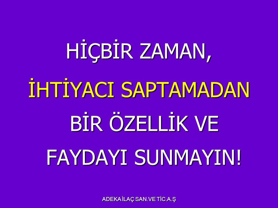 İHTİYACI SAPTAMADAN BİR ÖZELLİK VE FAYDAYI SUNMAYIN!