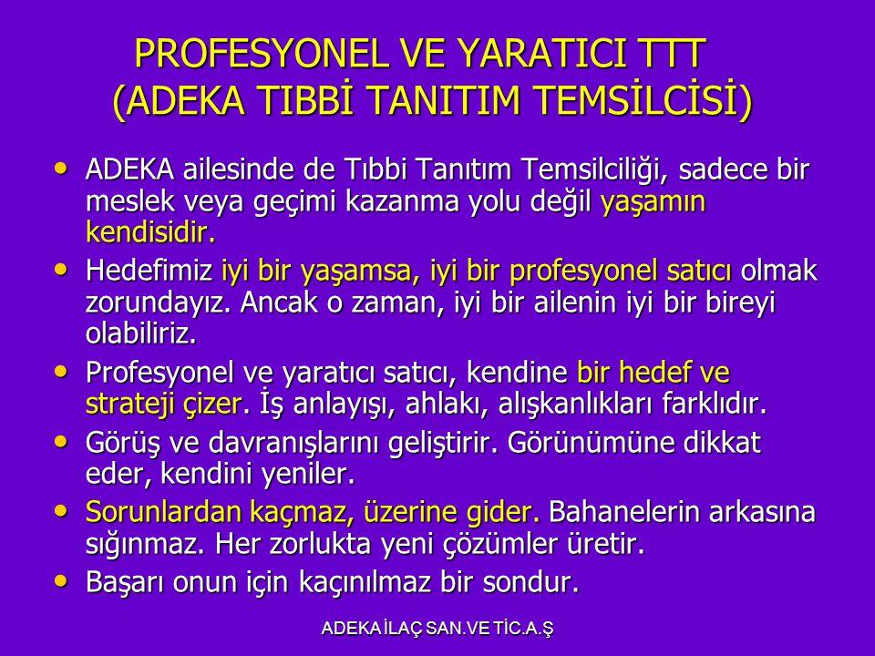 PROFESYONEL VE YARATICI TTT (ADEKA TIBBİ TANITIM TEMSİLCİSİ)