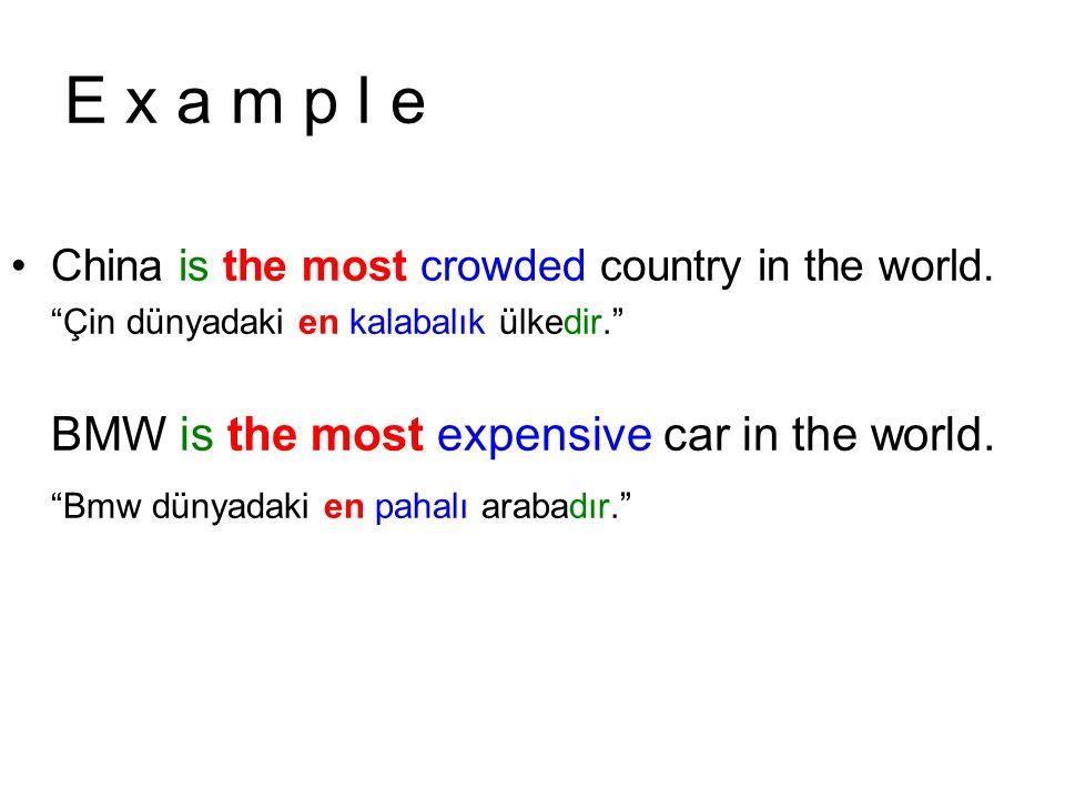 E x a m p l e BMW is the most expensive car in the world.