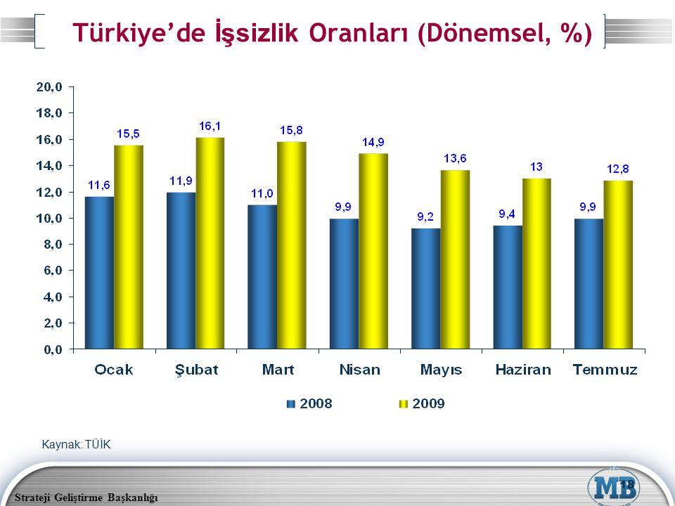 Türkiye'de İşsizlik Oranları (Dönemsel, %)