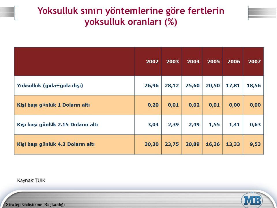 Yoksulluk sınırı yöntemlerine göre fertlerin yoksulluk oranları (%)