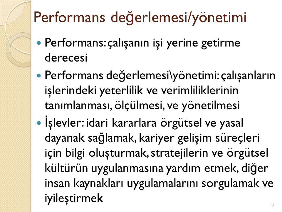 Performans değerlemesi/yönetimi