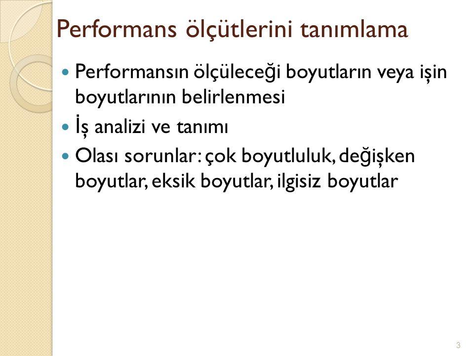 Performans ölçütlerini tanımlama