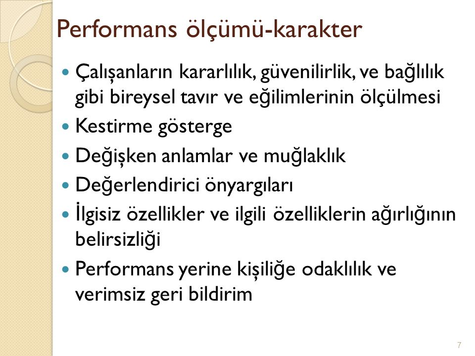 Performans ölçümü-karakter