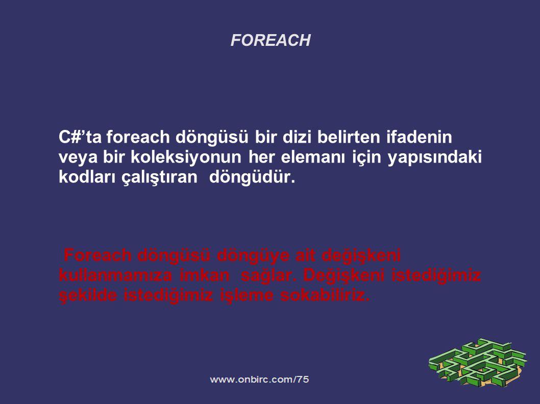 C#'ta foreach döngüsü bir dizi belirten ifadenin