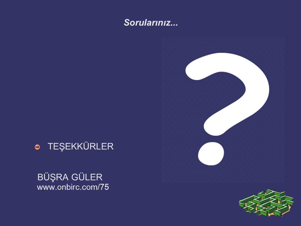 Sorularınız... TEŞEKKÜRLER BÜŞRA GÜLER www.onbirc.com/75