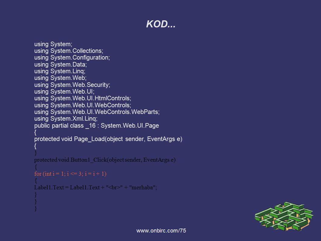 KOD... using System; using System.Collections;