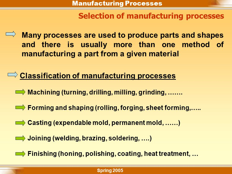 Selection of manufacturing processes