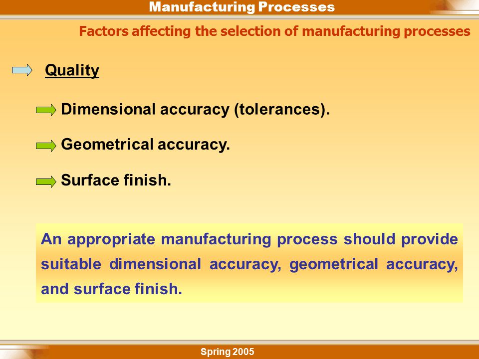 Dimensional accuracy (tolerances).
