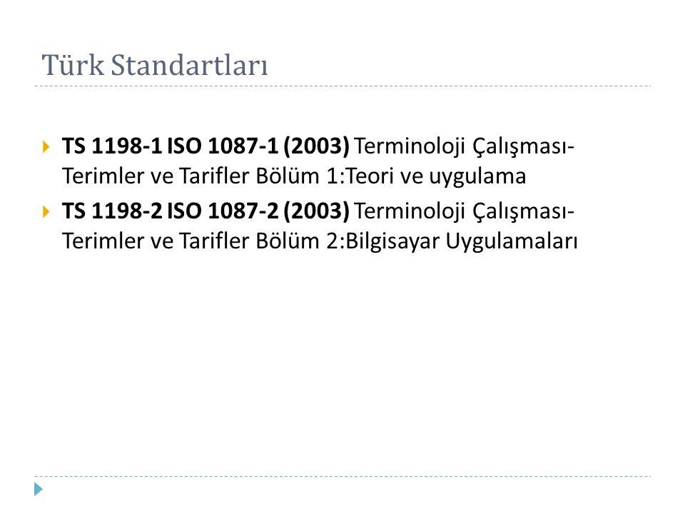 Türk Standartları TS 1198-1 ISO 1087-1 (2003) Terminoloji Çalışması- Terimler ve Tarifler Bölüm 1:Teori ve uygulama.