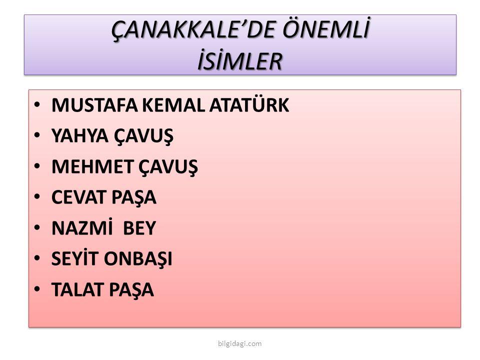 ÇANAKKALE'DE ÖNEMLİ İSİMLER