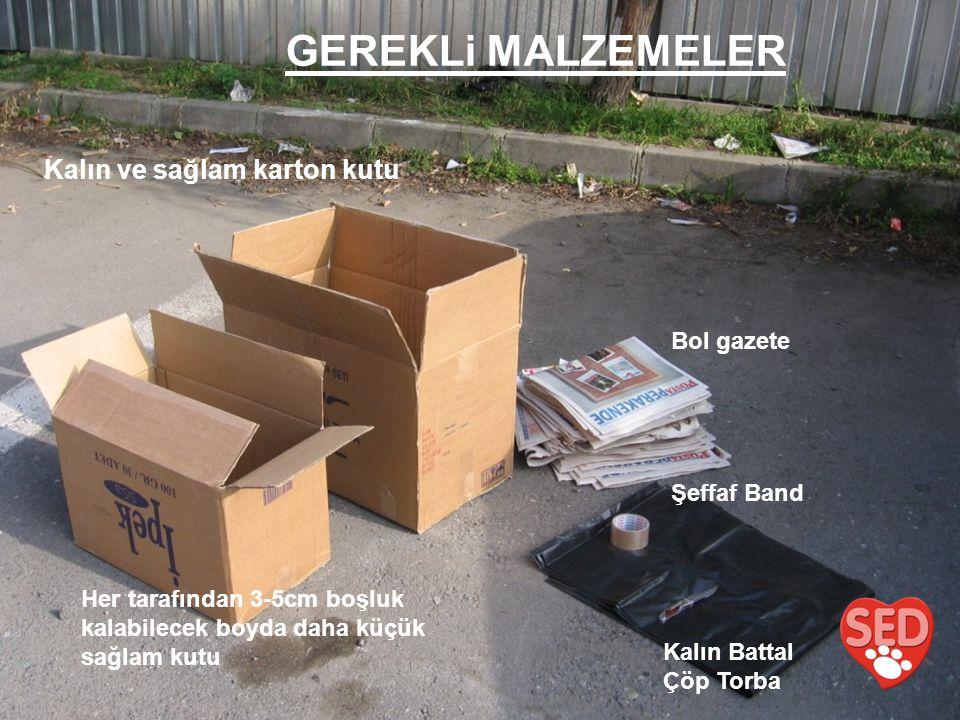 GEREKLi MALZEMELER Kalın ve sağlam karton kutu Bol gazete Şeffaf Band