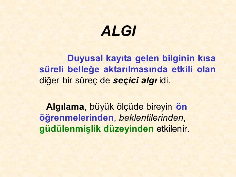 ALGI Duyusal kayıta gelen bilginin kısa süreli belleğe aktarılmasında etkili olan diğer bir süreç de seçici algı idi.