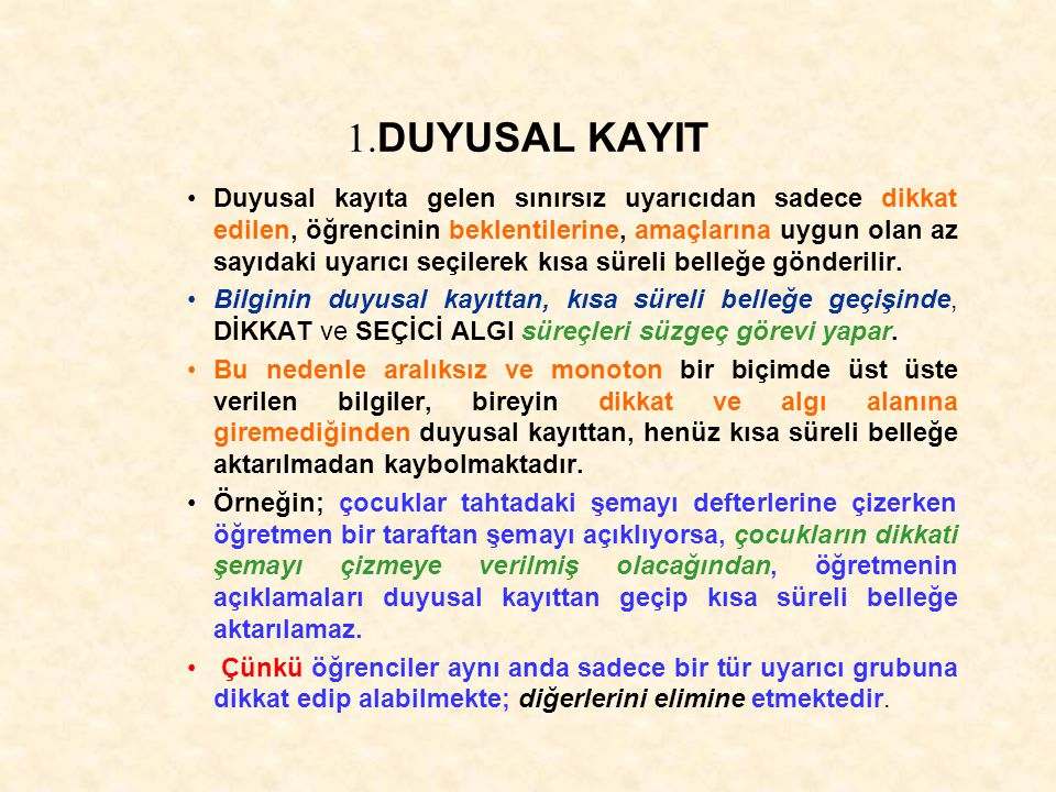 1.DUYUSAL KAYIT