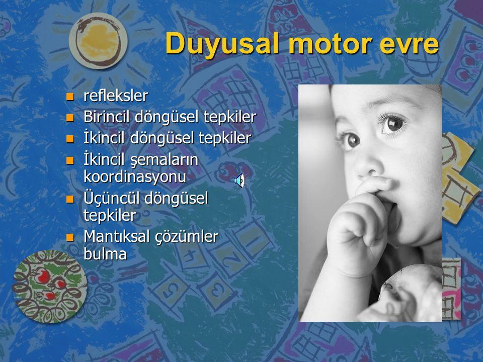 Duyusal motor evre refleksler Birincil döngüsel tepkiler