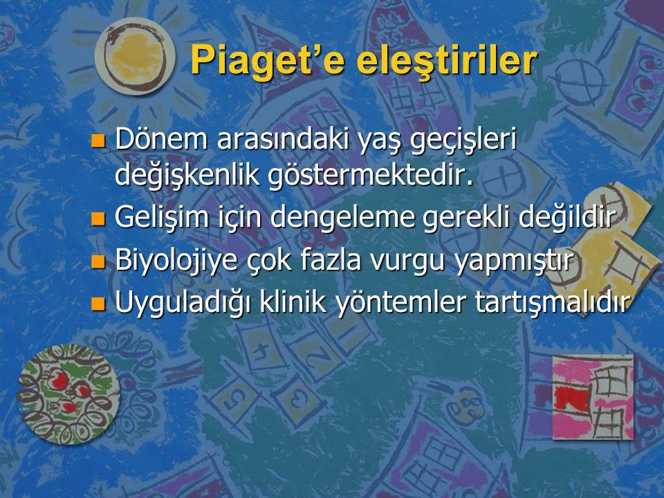 Piaget'e eleştiriler Dönem arasındaki yaş geçişleri değişkenlik göstermektedir. Gelişim için dengeleme gerekli değildir.