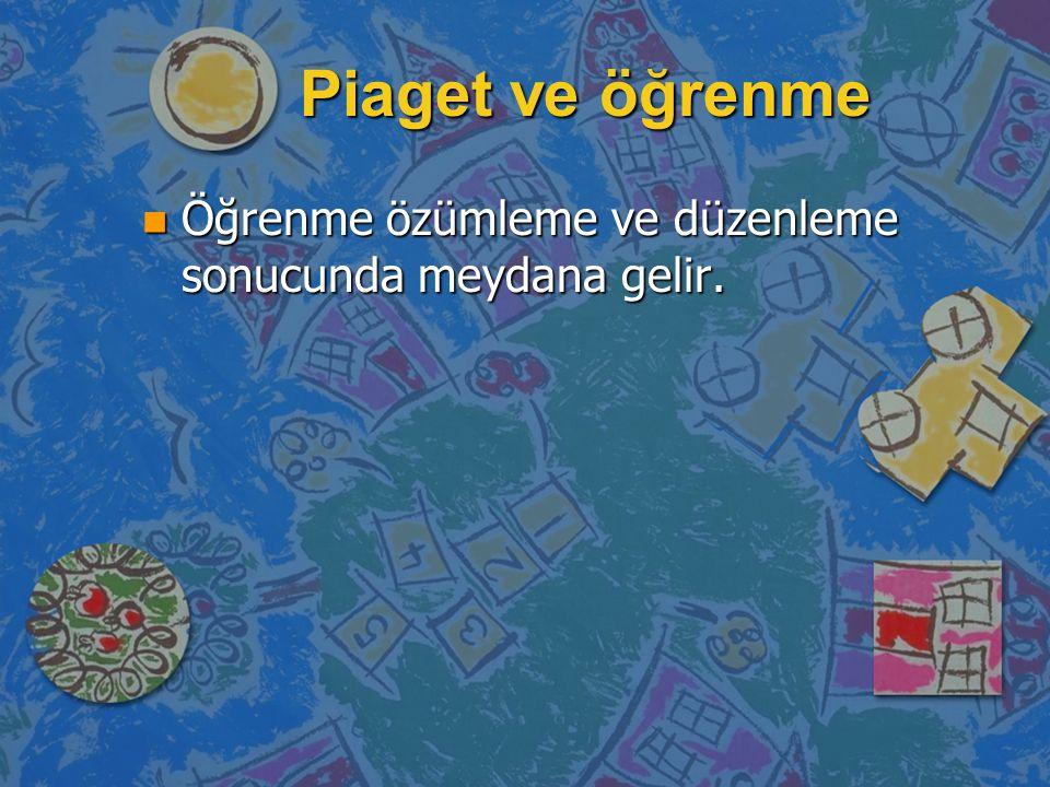 Piaget ve öğrenme Öğrenme özümleme ve düzenleme sonucunda meydana gelir.