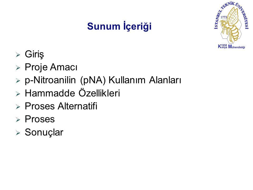 Sunum İçeriği Giriş. Proje Amacı. p-Nitroanilin (pNA) Kullanım Alanları. Hammadde Özellikleri. Proses Alternatifi.