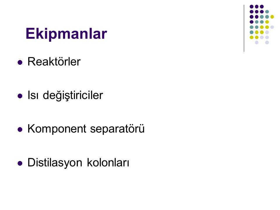 Ekipmanlar Reaktörler Isı değiştiriciler Komponent separatörü