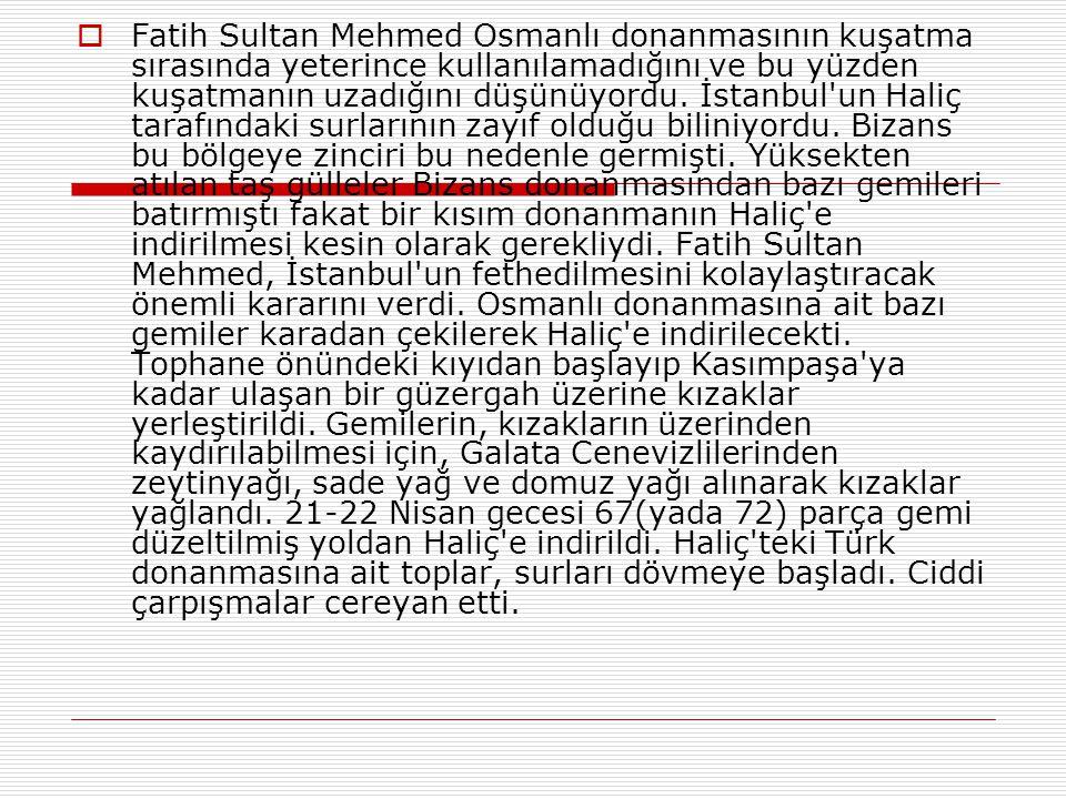 Fatih Sultan Mehmed Osmanlı donanmasının kuşatma sırasında yeterince kullanılamadığını ve bu yüzden kuşatmanın uzadığını düşünüyordu.