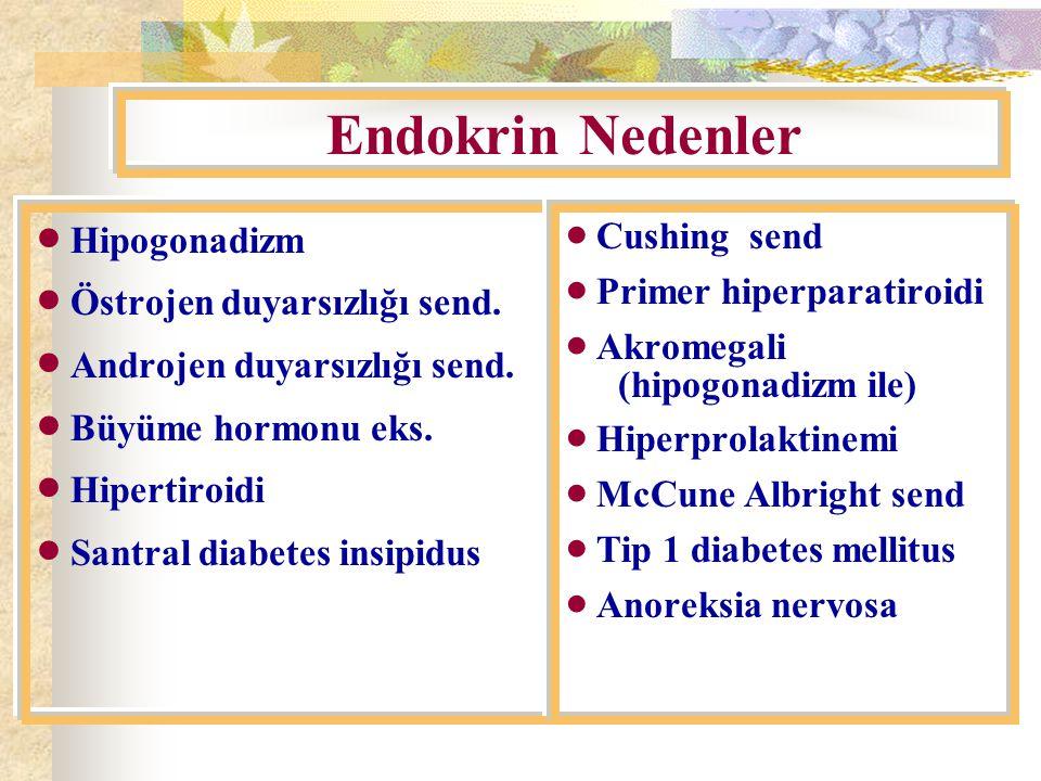Endokrin Nedenler  Hipogonadizm  Östrojen duyarsızlığı send.