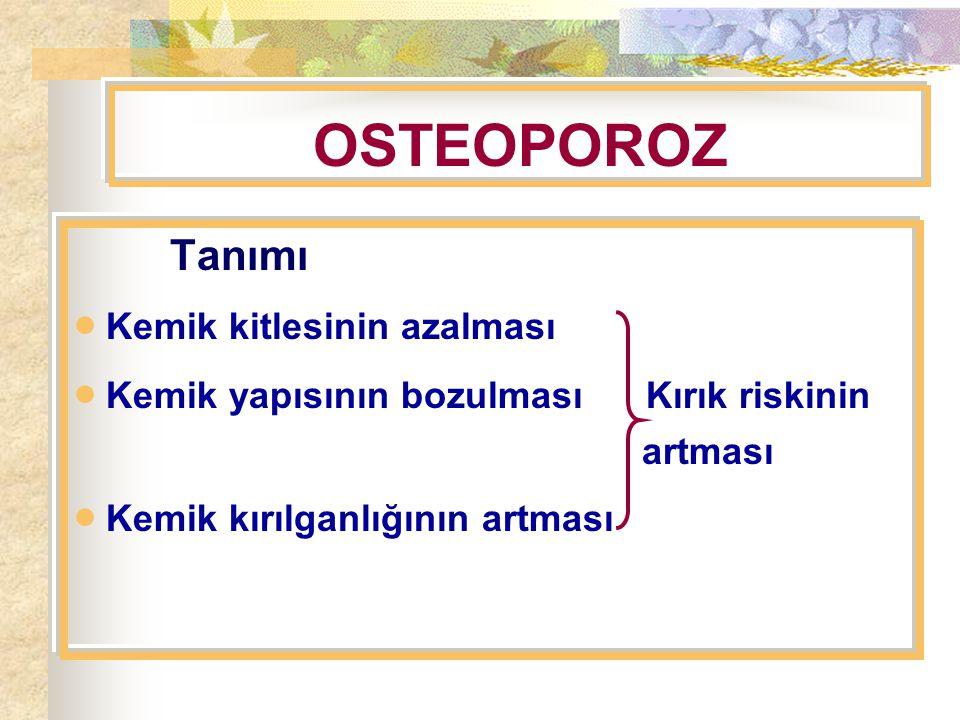 OSTEOPOROZ  Kemik kitlesinin azalması