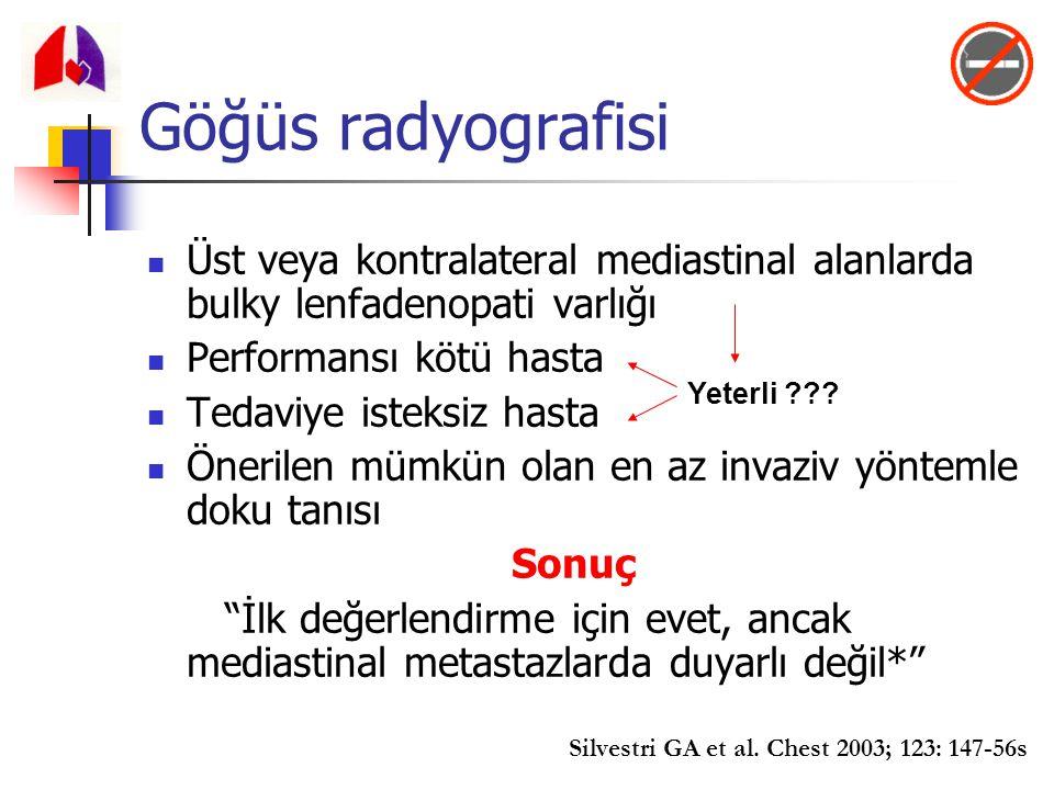 Göğüs radyografisi Üst veya kontralateral mediastinal alanlarda bulky lenfadenopati varlığı. Performansı kötü hasta.