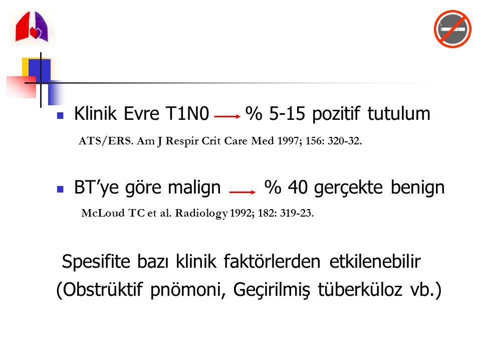 Klinik Evre T1N0 % 5-15 pozitif tutulum