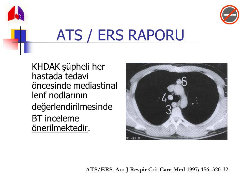 ATS / ERS RAPORU KHDAK şüpheli her hastada tedavi öncesinde mediastinal lenf nodlarının. değerlendirilmesinde.