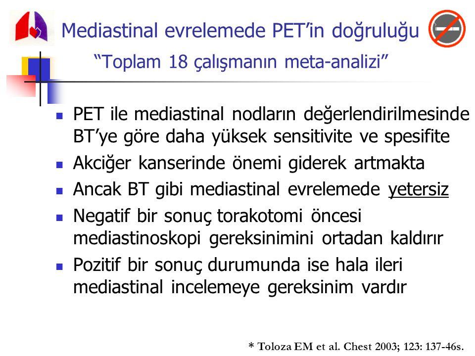 Mediastinal evrelemede PET'in doğruluğu Toplam 18 çalışmanın meta-analizi