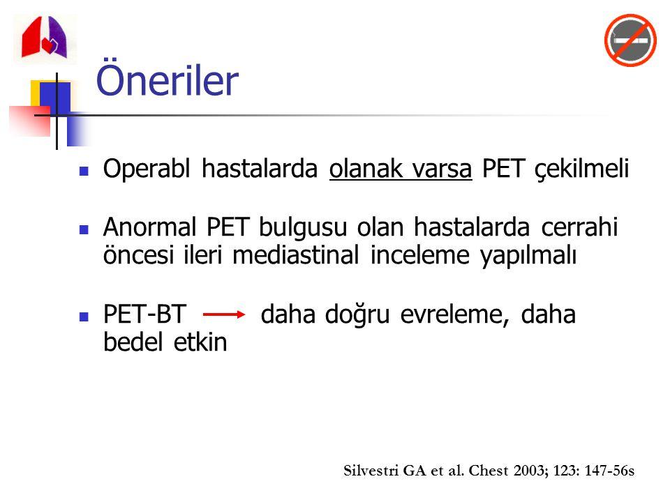 Öneriler Operabl hastalarda olanak varsa PET çekilmeli